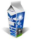 Fresh milk beverage carton white packaging of with text blue sky with clouds and sun rays steel cans for the transport of green Royalty Free Stock Photography