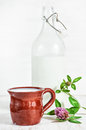 Fresh milk in ceramic mug, old fashioned bottle and wildflowers Royalty Free Stock Photo