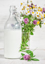 Fresh milk in old fashioned bottle and wildflowers Royalty Free Stock Photo