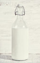 Fresh milk in old fashioned bottle Royalty Free Stock Photo