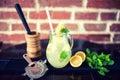 Fresh mint lemonade with ingredients in a jug. vintage effect