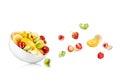 Fresh mixed fruit salad falling Royalty Free Stock Photo