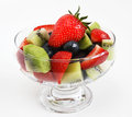 Fresh mixed fruit salad in a glass bowl Stock Photos