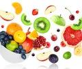 Mixed fruits falling Royalty Free Stock Photo