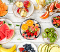 Fresh mixed fruits. Healthy diet eating. Fruit background. Royalty Free Stock Photo