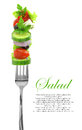 Fresh mixed vegetables fork Royalty Free Stock Images