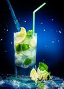Fresh mojito cocktail on wet dark blue background Stock Images