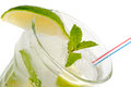 Fresh mojito cocktail on white Royalty Free Stock Images