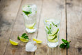 Fresh mojito on a old wooden table Stock Photo