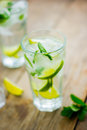 Fresh mojito on a old wooden table Royalty Free Stock Photo