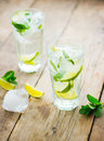 Fresh mojito on a old wooden table Royalty Free Stock Images