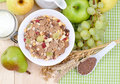 Fresh muesli several ingredients Stock Images