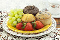 Fresh Muffins and Fruit Royalty Free Stock Image
