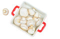 Fresh mushrooms in red tray isolated Royalty Free Stock Photos