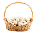 Fresh mushrooms in a wicker basket Royalty Free Stock Photo