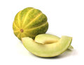 Fresh muskmelon on white background Royalty Free Stock Images