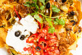 Fresh nachos and vegetable salad with meat Stock Images
