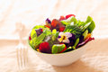 Fresh nasturtium and herb salad with an assortment of healthy leafy greens served as an individual portion in a white dish as an Stock Photos