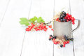 Fresh natural organic red white and black currants in a mug on a Royalty Free Stock Photo