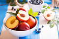 Fresh nectarines in a bowl Royalty Free Stock Photo