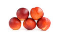 Fresh nectarines isolated on white background Stock Photo