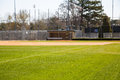 Fresh new grass on baseball field green across infield of Royalty Free Stock Photography