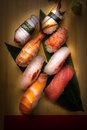 Fresh nigiri sushi in a plate in a japanese restaurant Royalty Free Stock Photo