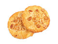 Fresh oatmeal cookies, isolated on a white background. Two sweet cookies. Cereal biscuits. Round cookies. Bread products.