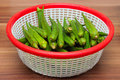Fresh Okra (Bhindi) in a basket Royalty Free Stock Photo