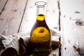 Fresh olive oil in bottle Royalty Free Stock Photo