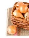 Fresh onions in basket Stock Photo