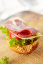 Fresh open sandwich with bacon Royalty Free Stock Image