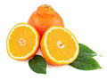Fresh orange fruit with green leaves isolated on white backgroun background closeup Royalty Free Stock Photography