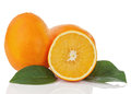 Fresh orange fruit with green leaves isolated on white backgroun background closeup Stock Images