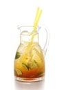 Fresh orange and ginger lemonade isolated on white background, summer fruit drink photography Royalty Free Stock Photo
