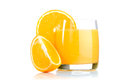 Fresh orange juice in glass on white background Stock Photography