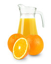 Fresh orange juice in a jug on white background Stock Photography
