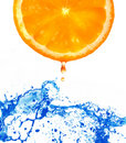 Fresh orange jumping into water Royalty Free Stock Photo