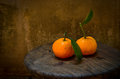 Fresh orange on an old wood table still life Royalty Free Stock Photography