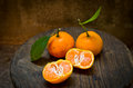 Fresh orange on an old wood table still life Royalty Free Stock Photos