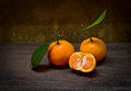 Fresh orange on table old wood still life Royalty Free Stock Image