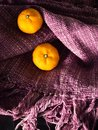 Fresh oranges with copy space on color cotton craft fabric Royalty Free Stock Photo