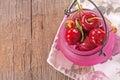 Fresh organic cherries sweet on wooden background Royalty Free Stock Image