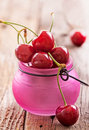 Fresh organic cherries sweet on wooden background Royalty Free Stock Photography