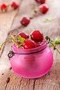 Fresh organic cherries sweet on wooden background Royalty Free Stock Photos