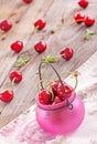 Fresh organic cherries swwet on wooden background Stock Photo