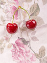 Fresh organic cherries on textile background Royalty Free Stock Photography