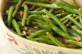 Fresh Organic Cooked Green Beans Stock Images