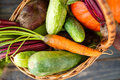 Fresh Organic Food Background Vegetables in the Basket Royalty Free Stock Photo