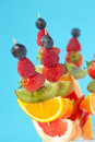 Fresh organic fruit kebabs Stock Photo